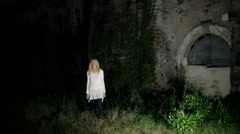 a blonde ghost in the old lonely farm - stock footage