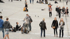 Time Lapse of People outside the George Pompidou Center - Paris France Stock Footage