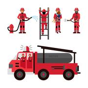 Firefighter Decorative Icons Set - stock illustration