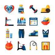 Stock Illustration of Fitness Flat Color Icons Set