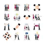 Flat Color Teamwork Icons Set - stock illustration