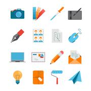 Flat Icons Set For Web And Graphic Design Stock Illustration