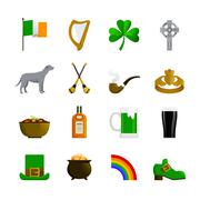 Ireland Flat Color Icons Stock Illustration
