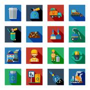 Disposal Of Waste Colorful Square Icons Stock Illustration