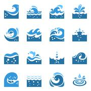 Blue Wave Icons Set - stock illustration