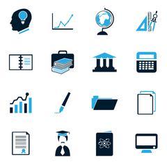 University icons set Stock Illustration
