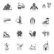 Ski resort icons black set Stock Illustration