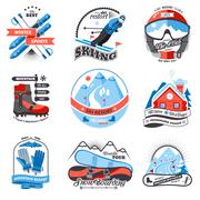 Ski resort emblems set Stock Illustration