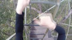 POV climbing up 75m high tree Stock Footage