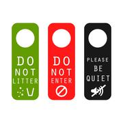 Do not litter, enter, be quiet door signs - stock illustration