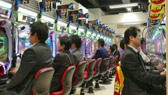 Japanese Men People Playing Pachinko Game Gambling Tokyo Casino Stock Footage