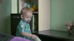 Serious boy throw pillow - stock footage