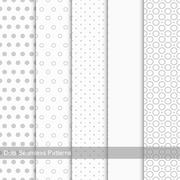 Set of seamless patterns with circles and dots. Stock Illustration