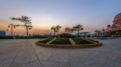 Beautiful sunset at Putra Mosque forecourt at Putrajaya, Malaysia Stock Footage