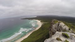View from Conspicuous Cliff onto Conspicuous Beach Stock Footage