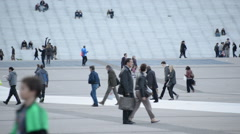 Time Lapse of People at La Defense Arch Daytime - Paris France - stock footage