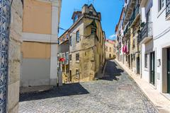 At the Alfama district in Lisbon - stock photo
