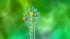 Ecological Icons Tree. Bio Energy Stock Footage