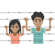 Refugee boy and girl behind barbed wire Stock Illustration