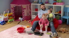 Father have fun with his childrens    Stock Footage