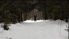 Forest. Skier. Man enjoy cross-country skiing in the woods Arkistovideo