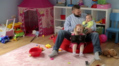 Father with his children  Stock Footage
