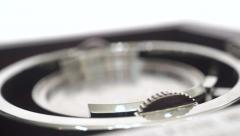 Dolly macro shot of old compass bearing with steel knobs - stock footage