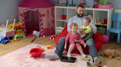 Happy father spend time with his kids and hug them  Stock Footage