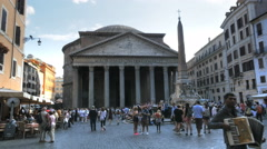 busker in piazza della rotonda and the pantheon, rome - stock footage
