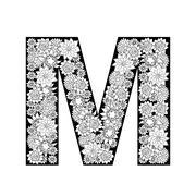 Hand drawn floral alphabet design. Letter M Stock Illustration
