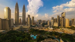 Timelapse of dramatic sunset over KLCC Park. Motion Pan Left - stock footage