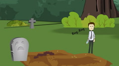 """Silence your Cell Phone"", Cemetery Animation Stock Footage"