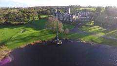 Aerial footage of Dromoland castle in winter. Stock Footage