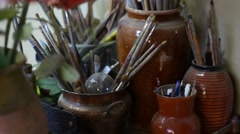 Oil Painting Tools On The Background Of Art Studio Stock Footage