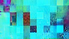 Scrambled cable TV broadcast signal, television screen display digital glitch Stock Footage