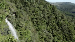Hogsback. Pan left from waterfall to  view of Eastern CApe Stock Footage