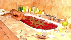 Girl taking bath with rose petals. Time lapse Stock Footage