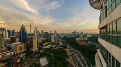 Dramatic beautiful sunset from high vantage point overlooking Kuala Lumpur city - stock footage