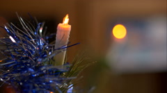 Fake candle on a christmas tree close up 4K Stock Footage