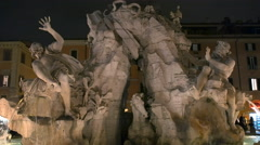 Piazza navona four rivers fountain Stock Footage