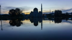 Beautiful Sunrise Reflection at As-Salam Mosque, Selangor, Malaysia. Stock Footage