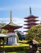 the pagoda at Senso-Ji temple in Tokyo, Japan - stock photo