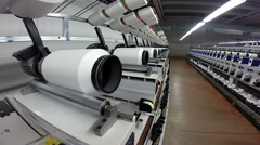 Production of Synthetic Fibers in a Textile Factory - stock footage