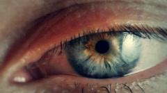 Close up human eye iris Stock Footage