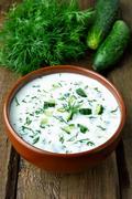 Summer yoghurt cold soup Stock Photos