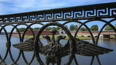 The fence with the emblem in front of the Peter-Pavel's Fortress Stock Footage