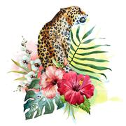 Watercolor raster leopard - stock illustration