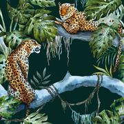 Watercolor raster leopard pattern - stock illustration
