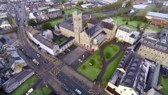 Aerial footage of Thurles Cathedral in Thurles town in County Tipperary  Stock Footage