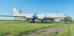 One of twelve old rare soviet aircraft TU-114 Stock Photos